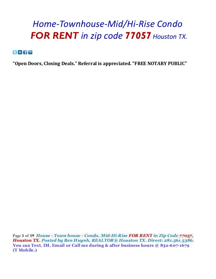 """Home-Townhouse-Mid/Hi-Rise Condo       FOR RENT in zip code 77057 Houston TX.""""Open Doors, Closing Deals."""" Referral is appr..."""