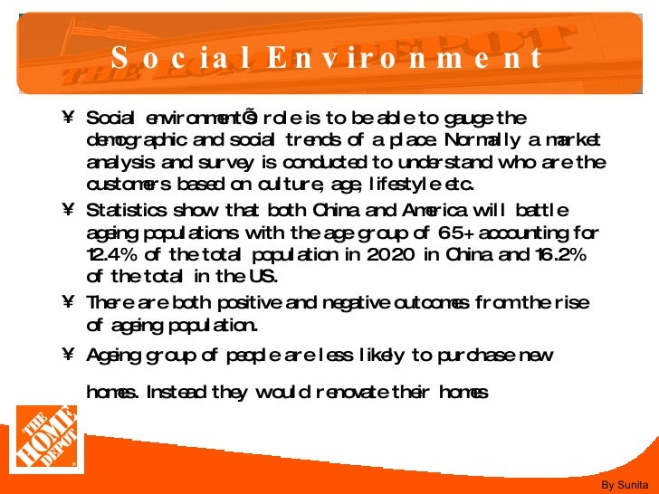 home depot environmental analysis Home depot external environment analysis introduction this essay is written in regards to the home depot and the evaluation of their external environment the home depot is a highly all home depot internal external analysis essays and term papers.