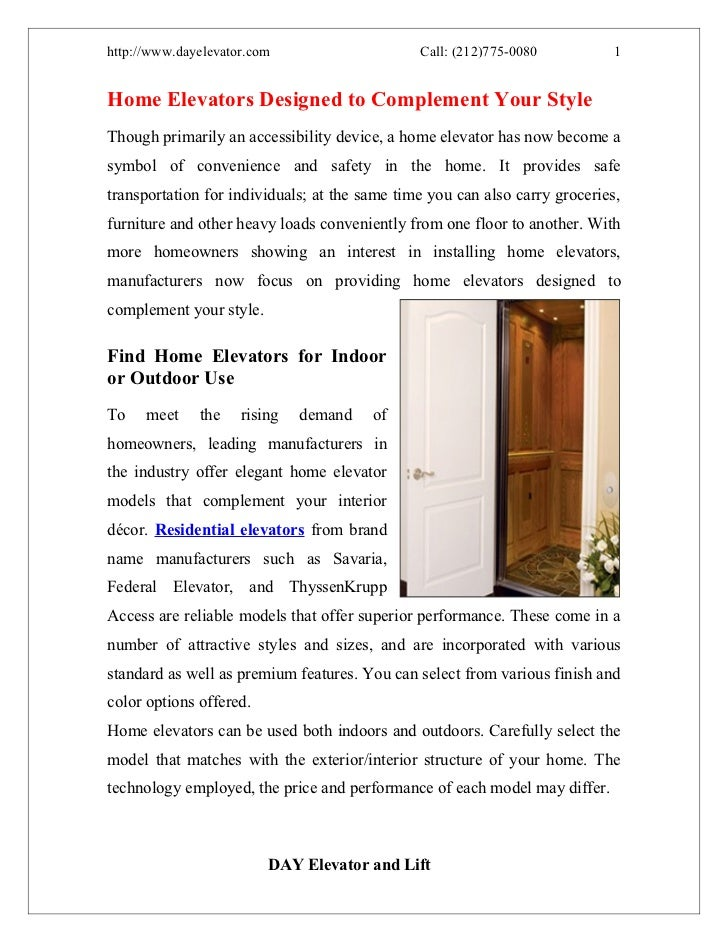 http://www.dayelevator.com                     Call: (212)775-0080           1Home Elevators Designed to Complement Your S...