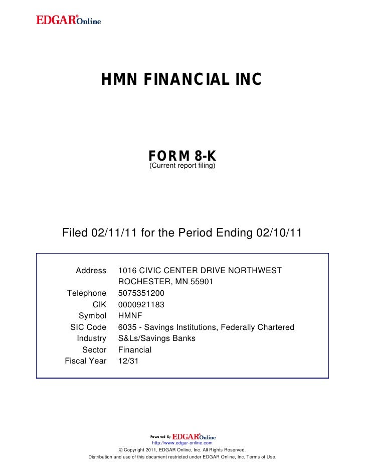HMN FINANCIAL INC                                 FORM 8-K                                 (Current report filing)Filed 02...