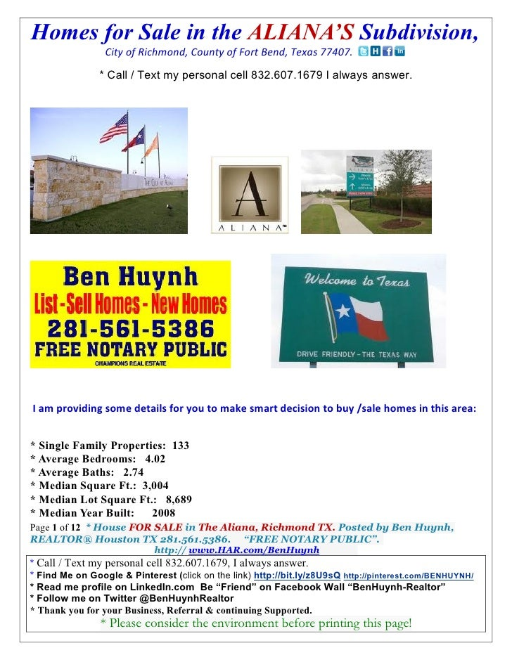 Homes for Sale in the ALIANA'S Subdivision,                 City of Richmond, County of Fort Bend, Texas 77407.           ...