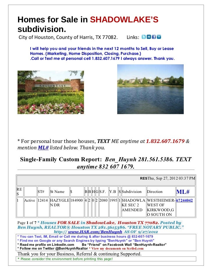 Home for sale in shadowlake sept 27 2012