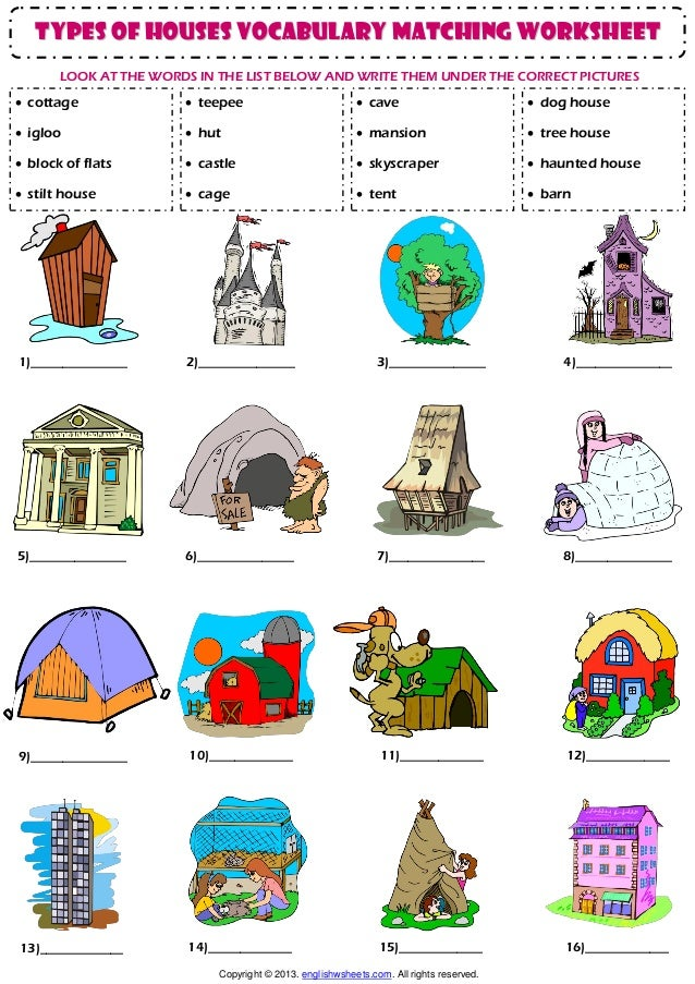 Home house types vocabulary matching exercise worksheet for Types of houses with pictures and definition
