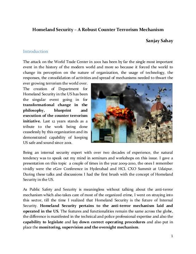 Homeland security – A Robust Counter Terrorism Mechanism