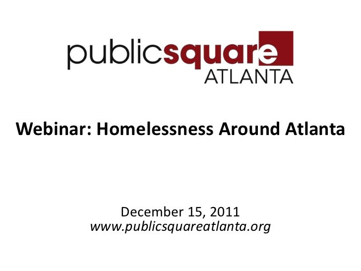 Public Square Atlanta Homelessness Webinar