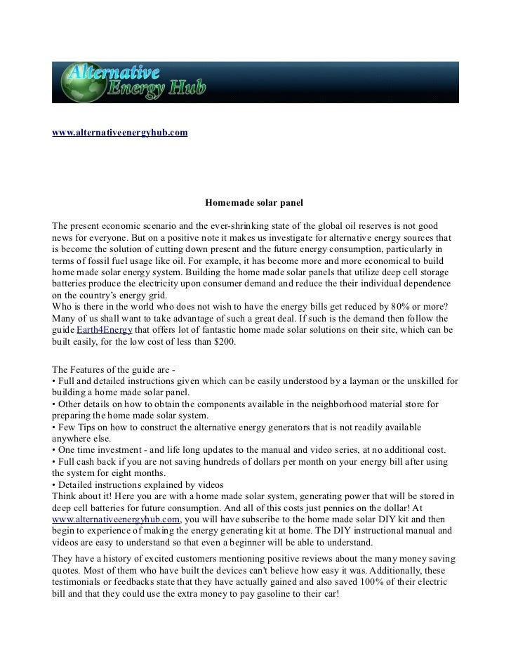 www.alternativeenergyhub.com                                      Homemade solar panelThe present economic scenario and th...