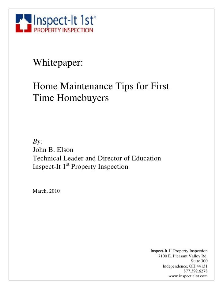 Home Maintenece Tips 1st Time Home Buyers
