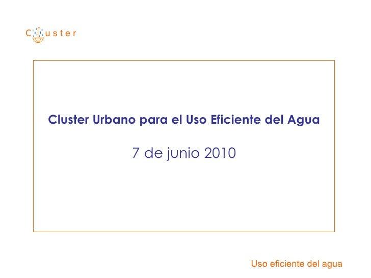 C  u s t e r Cluster Urbano para el Uso Eficiente del Agua 7 de junio 2010 Uso eficiente del agua