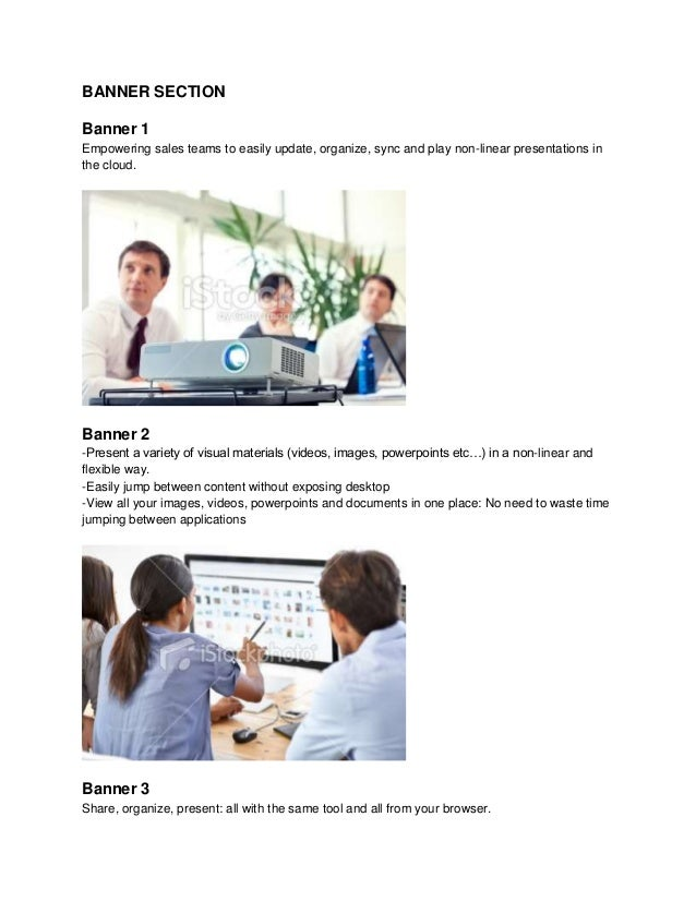 BANNER SECTION Banner 1 Empowering sales teams to easily update, organize, sync and play non-linear presentations in the c...