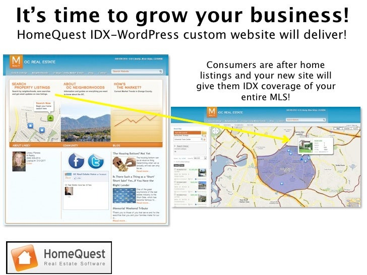 It's time to grow your business! HomeQuest IDX-WordPress custom website will deliver!                                 Cons...