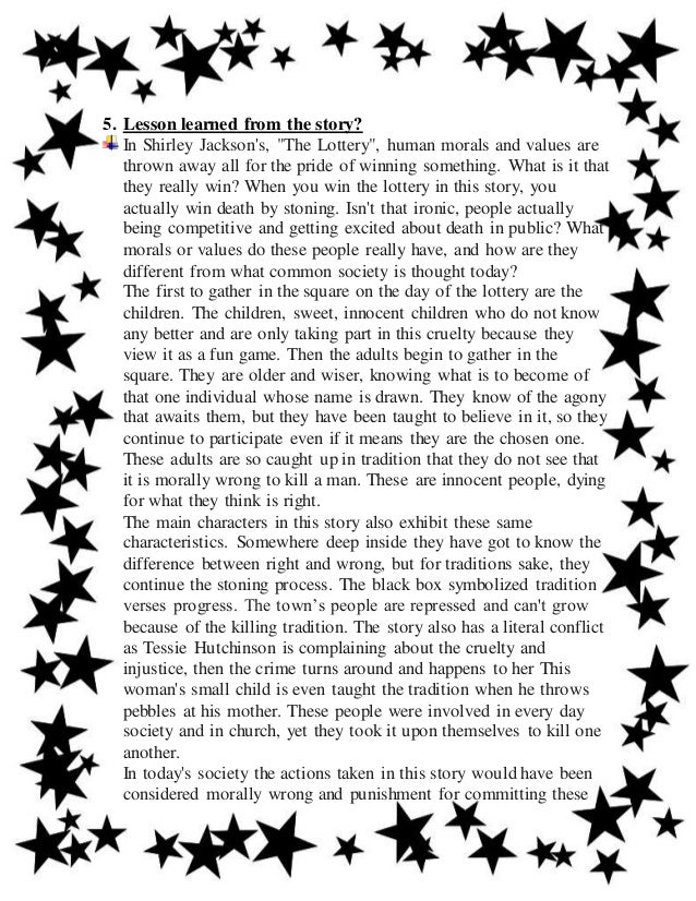 character analysis essay the lottery