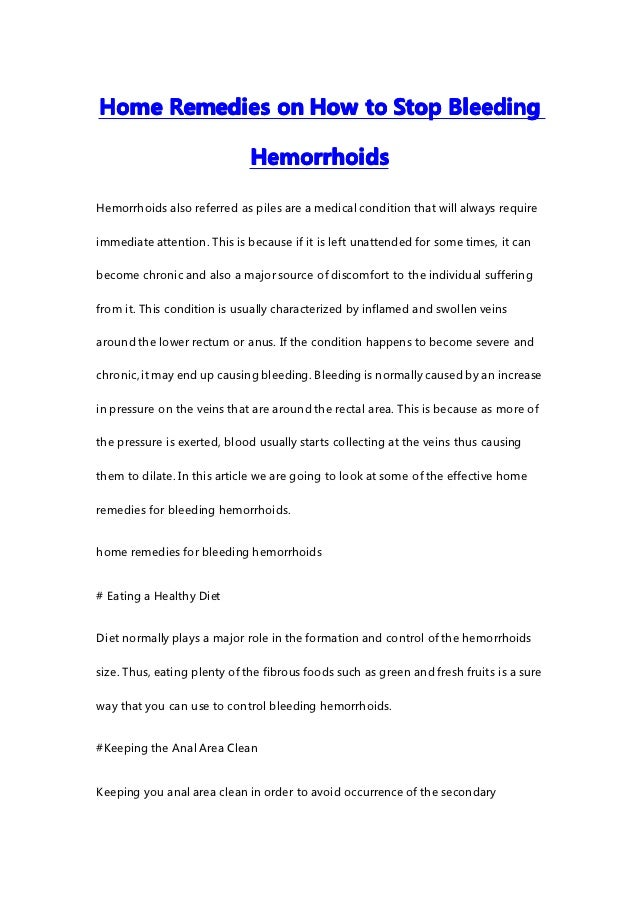 how to stop bleeding hemorrhoids fast