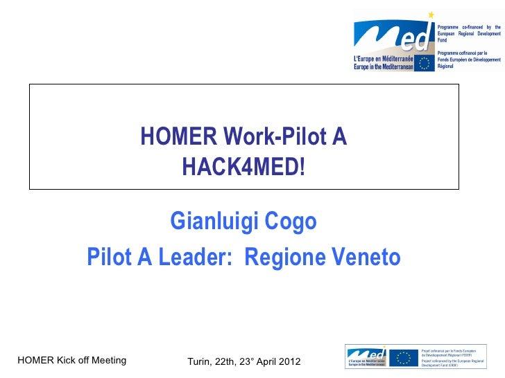 HOMER Work-Pilot A                            HACK4MED!                       Gianluigi Cogo              Pilot A Leader: ...