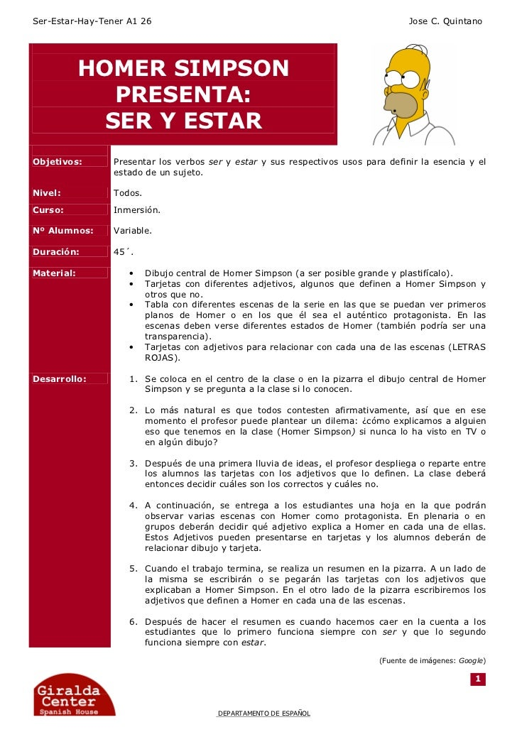 Ser-Estar-Hay-Tener A1 26                                                          Jose C. Quintano            HOMER SIMPS...