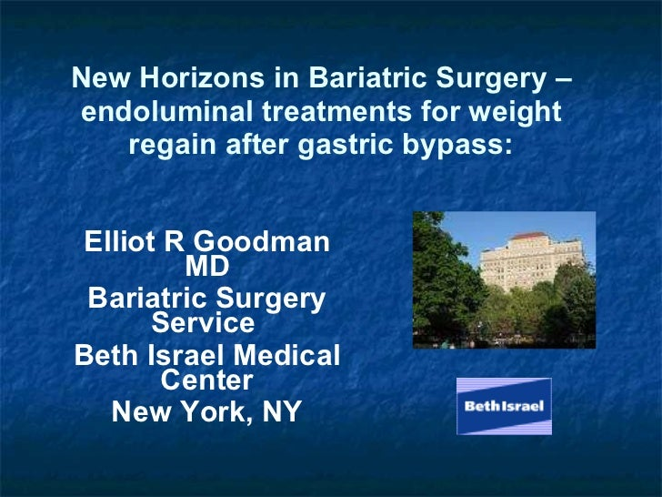 New Horizons in Bariatric Surgery – endoluminal treatments for weight regain after gastric bypass: Elliot R Goodman MD Bar...
