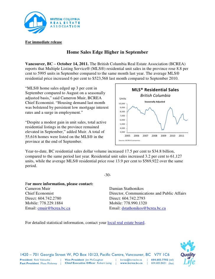 For immediate release                                   Home Sales Edge Higher in September   Vancouver, BC – October 14, ...