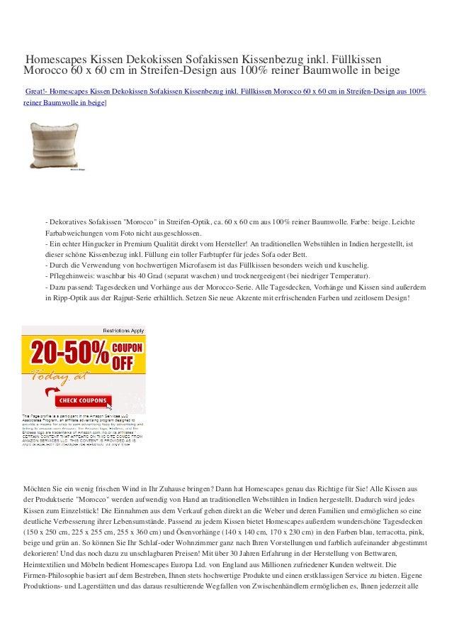 Homescapes Kissen Dekokissen Sofakissen Kissenbezug inkl. FüllkissenMorocco 60 x 60 cm in Streifen-Design aus 100% reiner ...