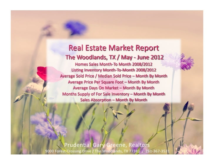 Homes sales real estate reports - The Woodlands TX May - June 2012