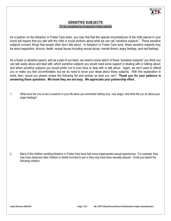 SENSITIVE SUBJECTS                                              (To be completed by prospective foster parents   As a part...