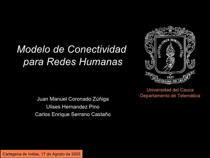 Modelo de Conectividad         para Redes Humanas                                                      Universidad del Cau...
