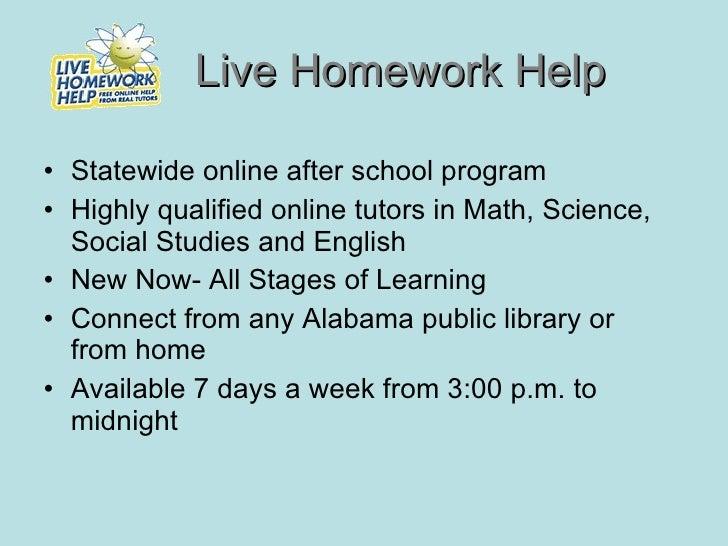 Alabama live homework help