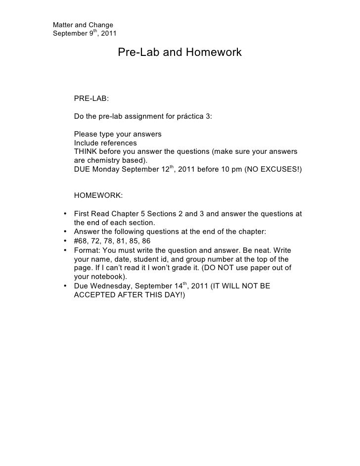 Matter and ChangeSeptember 9th, 2011                      Pre-Lab and Homework      PRE-LAB:      Do the pre-lab assignmen...