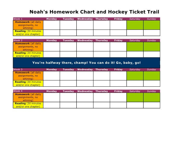 Noah's Homework Chart and Hockey Ticket Trail Week 1                  Monday   Tuesday   Wednesday   Thursday   Friday   S...