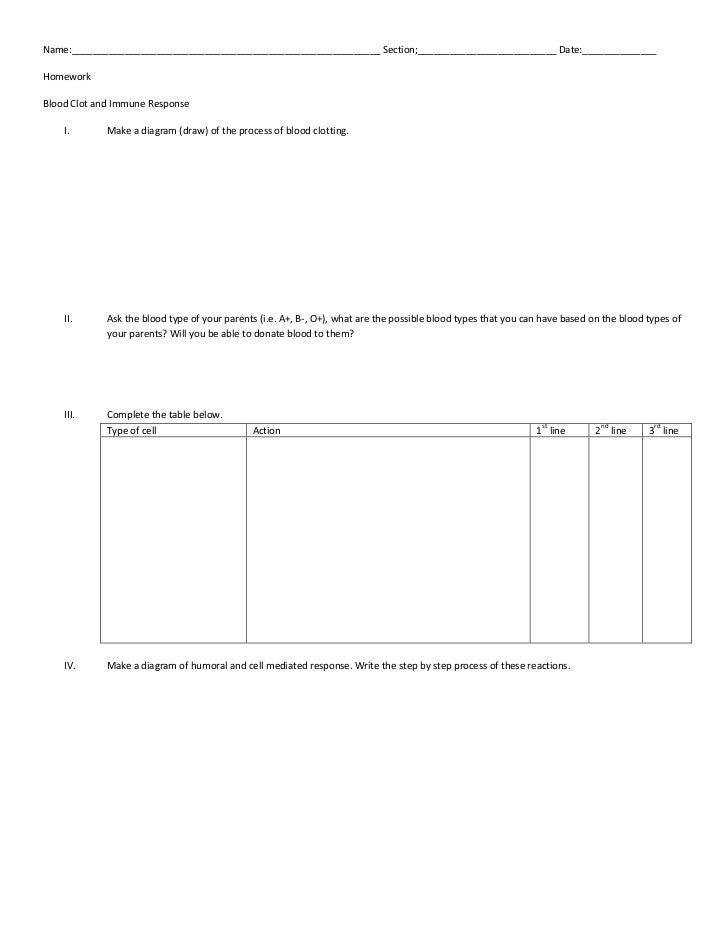 Homework clotting and immune