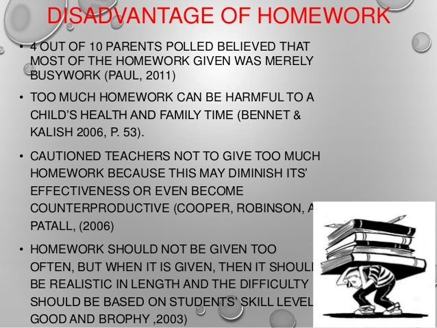 Homework negative effects