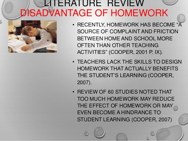 Advantage and disadvantage of homework