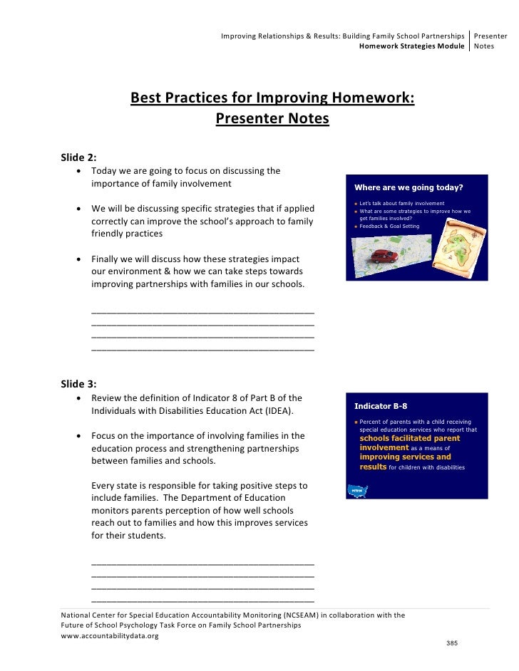 Unit 7: Homework Strategies - Parental Involvement Notes