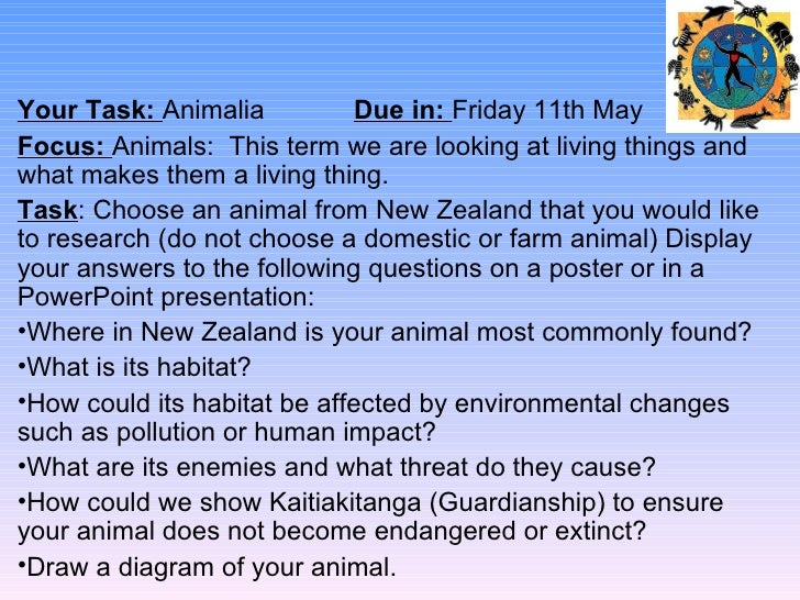 Your Task: Animalia           Due in: Friday 11th MayFocus: Animals: This term we are looking at living things andwhat mak...