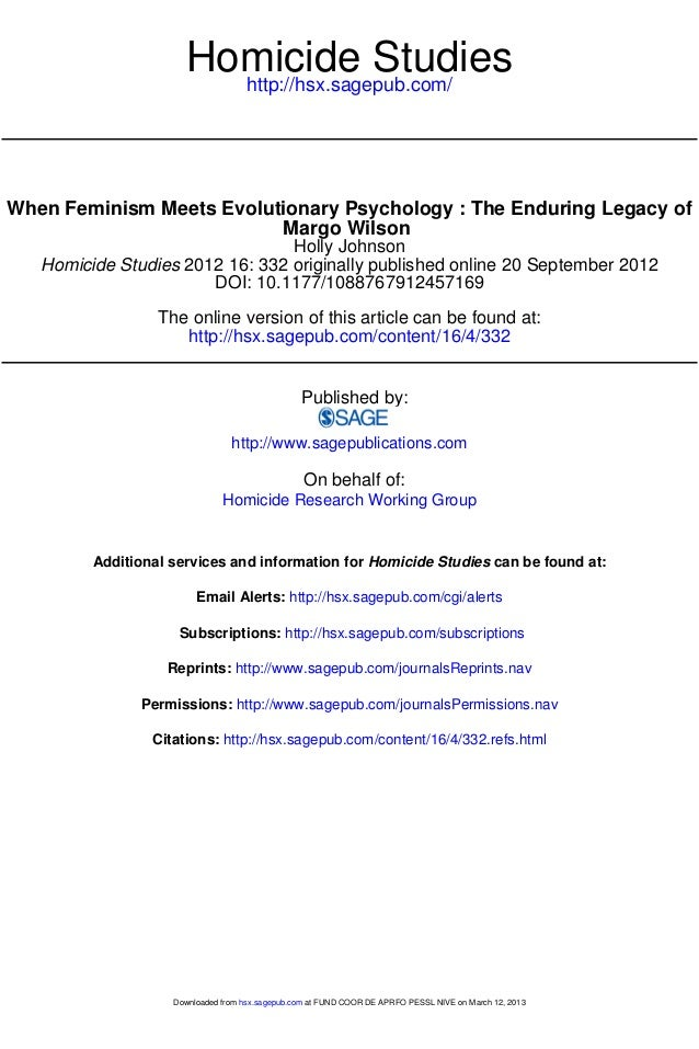 When Feminism Meets Evolutionary Psychology: The Enduring Legacy of Margo Wilson
