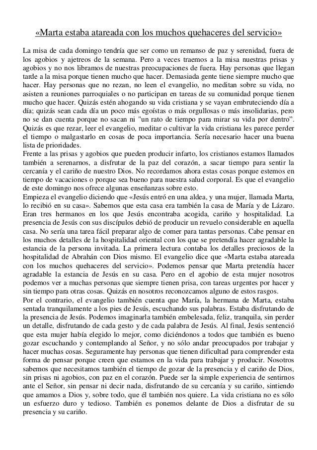 Homilía Domingo XVI del TO. Ciclo C. Día 21 de julio del 2013