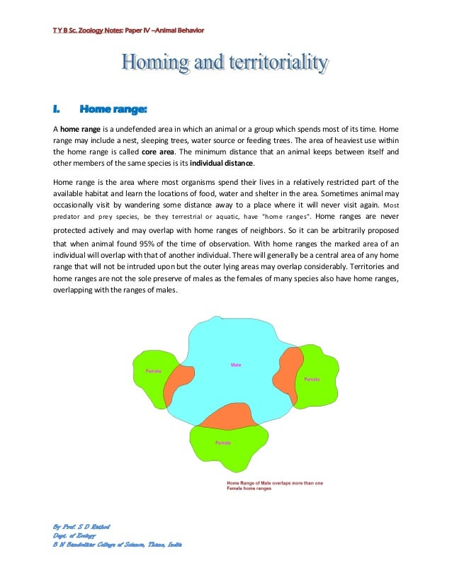 T Y B Sc. Zoology Notes: Paper IV –Animal BehaviorI.       Home range:A home range is a undefended area in which an animal...