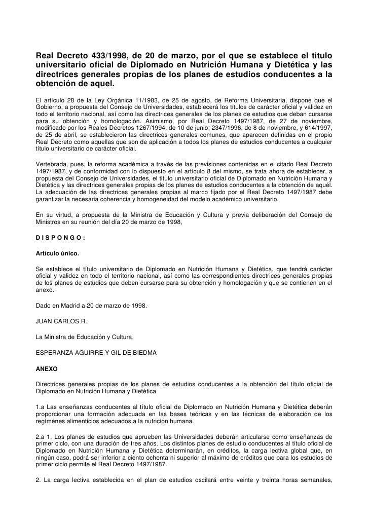 Real Decreto 433/1998, de 20 de marzo, por el que se establece el titulo universitario oficial de Diplomado en Nutrición H...