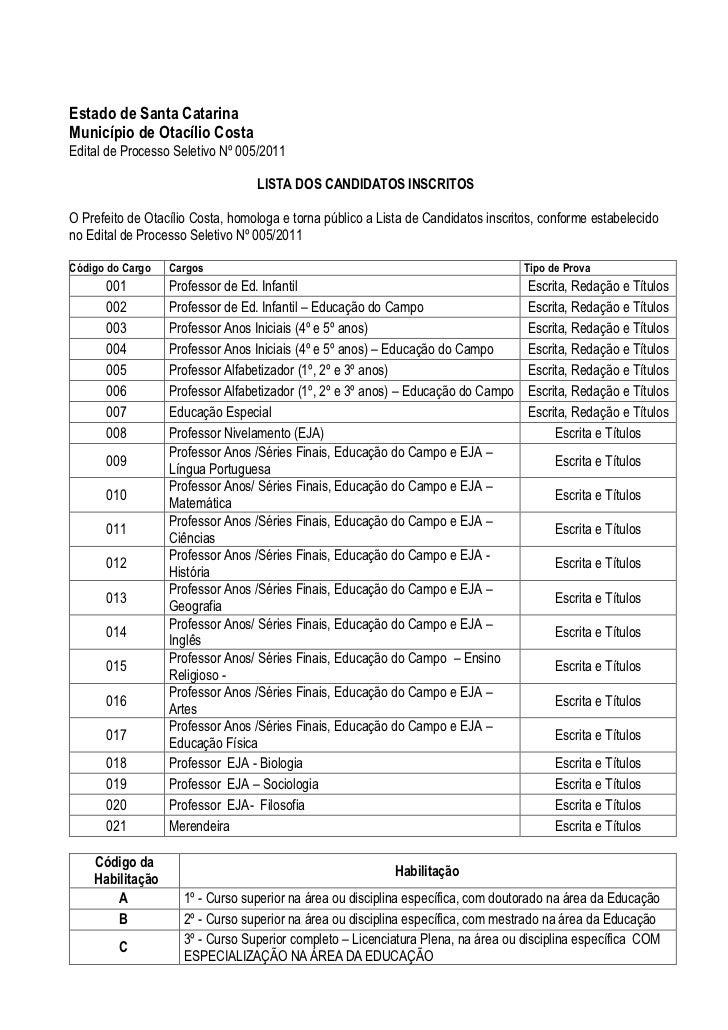 Estado de Santa CatarinaMunicípio de Otacílio CostaEdital de Processo Seletivo Nº 005/2011                                ...