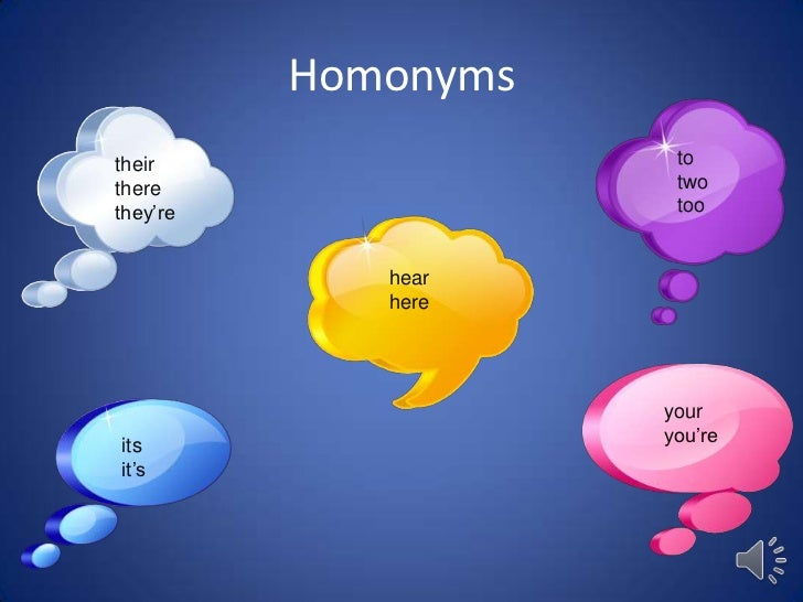 Homonymstheir                 tothere                 twothey're               too             hear             here      ...