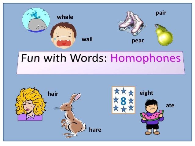 Homophones words that sound the same but have different meanings