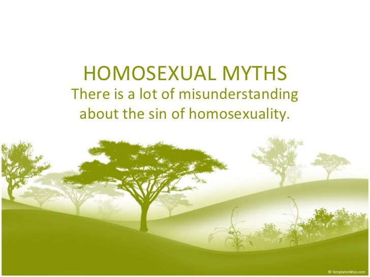HOMOSEXUAL MYTHS There is a lot of misunderstanding about the sin of homosexuality.