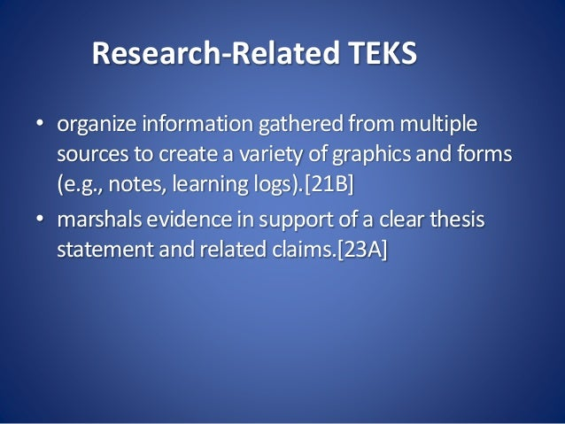 Research-Related TEKS • organize information gathered from multiple sources to create a variety of graphics and forms (e.g...