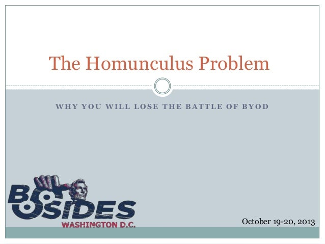 The Homunculus Problem WHY YOU WILL LOSE THE BATTLE OF BYOD  October 19-20, 2013