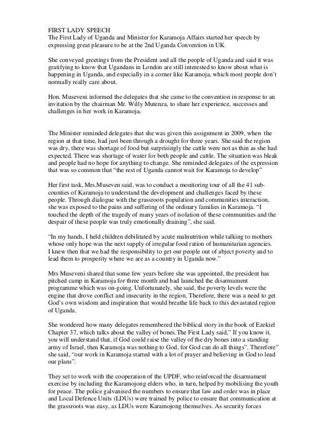 Hon. janet museveni 2012 convention  transcript