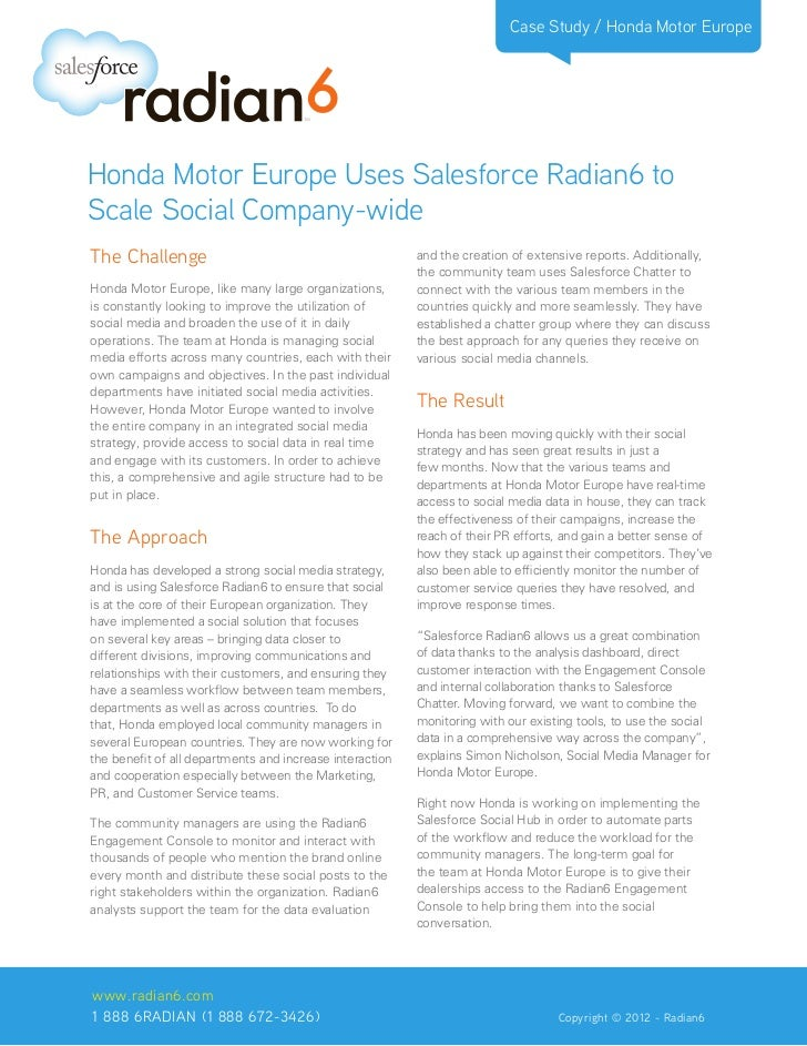 Honda Motor Europe Uses Salesforce Radian6 to Scale Social Company-wide