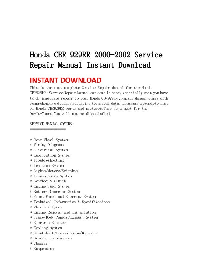 honda cbr 929 rr 2000 2002 service repair manual instant. Black Bedroom Furniture Sets. Home Design Ideas