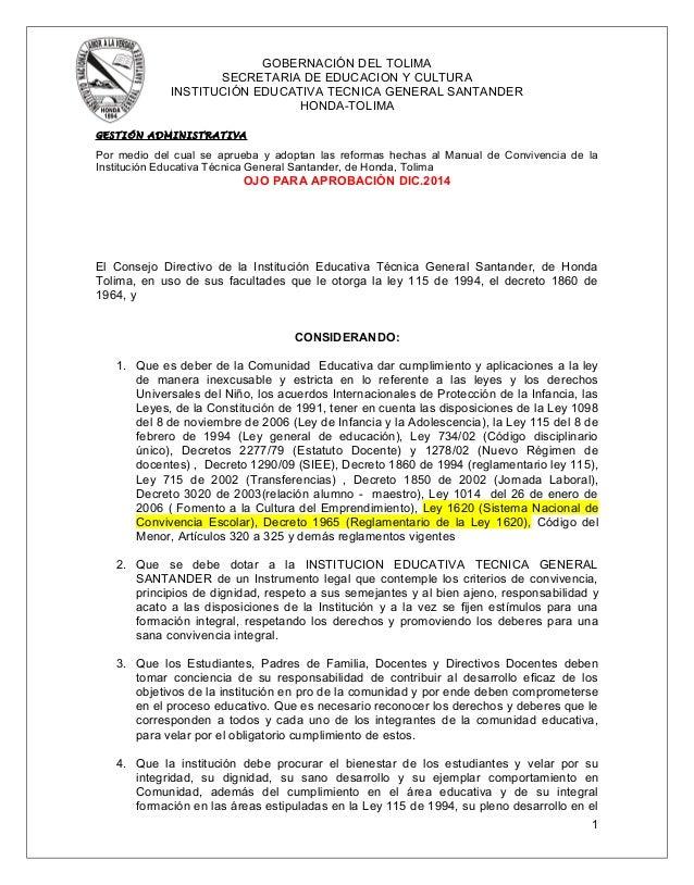 GOBERNACIÓN DEL TOLIMA  SECRETARIA DE EDUCACION Y CULTURA  INSTITUCIÓN EDUCATIVA TECNICA GENERAL SANTANDER  HONDA-TOLIMA  ...