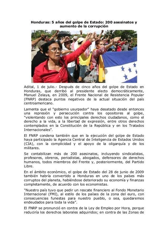 Honduras: 5 años del golpe de Estado: 200 asesinatos y aumento de la corrupción