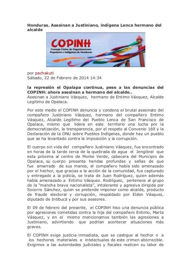 Honduras. Asesinan a Justiniano, indígena Lenca hermano del alcalde  por pachakuti Sábado, 22 de Febrero de 2014 14:34 la ...