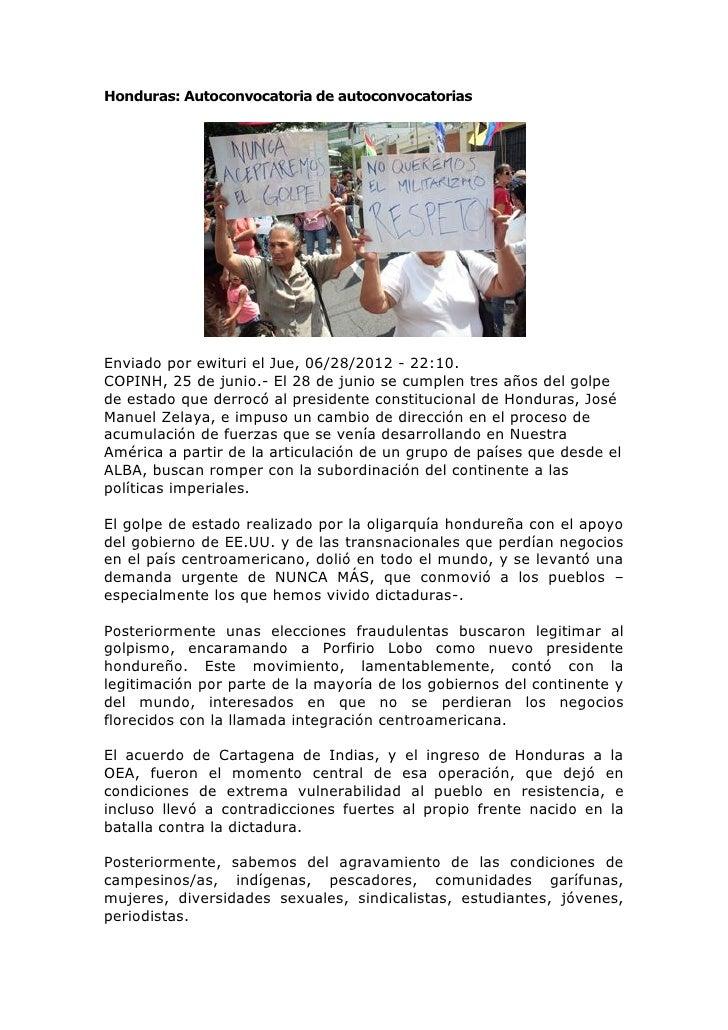 Honduras convocatoria
