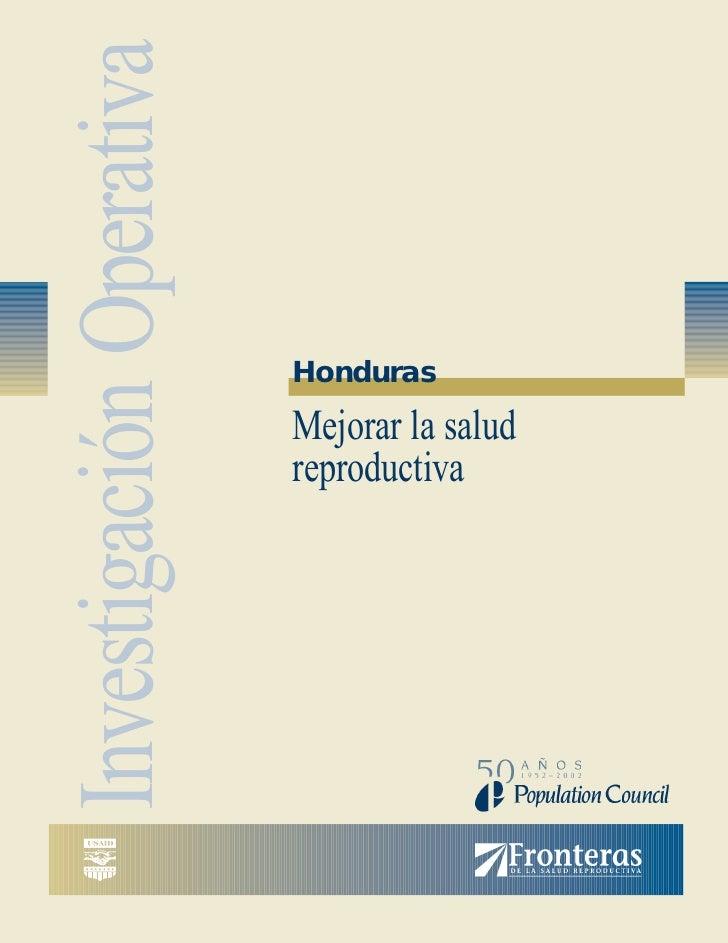 Investigación Operativa                          Honduras                          Mejorar la salud                       ...